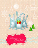 Vector Merry Christmas card with rabbits frame Royalty Free Stock Photo