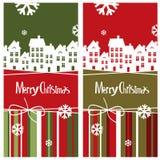 Vector Merry Christmas card with town Stock Photos