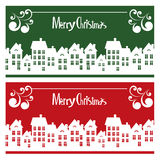 Vector Merry Christmas card with town Stock Image