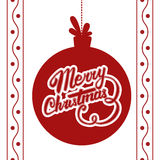 Vector Merry Christmas card. Vector christmas ball with Christmas lettering Stock Image
