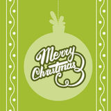 Vector Merry Christmas card. Vector christmas ball with Christmas lettering Royalty Free Stock Photo