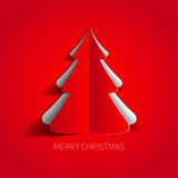 Vector Merry Christmas card with a white minimalistic tree Royalty Free Stock Images