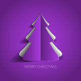 Vector Merry Christmas card with a white minimalistic tree Stock Photography