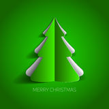 Vector Merry Christmas card with a white minimalistic tree. Made from paper Stock Photo