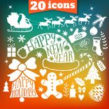 Vector Merry Christmas collection, New Year bundle icons, doodles element for Christmas design. Set of winter holidays silhouette Stock Photography