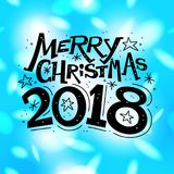 Vector Merry christmas congratulation card with lettering text isolated on blurred colorful background. Stock Images