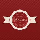 Vector Merry Christmas Emblem on red Background. Vector Merry Christmas Emblem on red striped Background Royalty Free Stock Photos