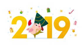Vector Merry Christmas flat illustration with 2019 number & happy little pig elf in santa hat carrying fir tree isolated on white stock illustration