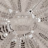 Vector Merry Christmas Floral Greeting Stock Images