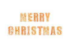 Vector Merry Christmas Gingerbread Hand Drawn Lettering, Greating Card, Isolated. royalty free illustration