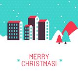 Vector merry christmas greeting card. In cartoon flat style with winter landscape Royalty Free Stock Photography