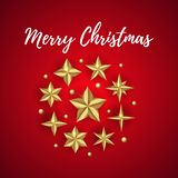Vector Merry Christmas greeting card decorated with realistic Golden 3D Stars. Merry Christmas greeting card decorated with realistic Golden 3D Stars isolated royalty free illustration
