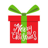 Vector Merry Christmas greeting card. Gift boxes and greeting text Merry Christmas. Royalty Free Stock Images