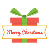 Vector Merry Christmas greeting card. Gift boxes and greeting text Merry Christmas. Royalty Free Stock Image