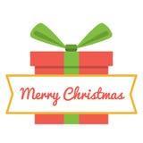 Vector Merry Christmas greeting card. Gift boxes and greeting text Merry Christmas. Royalty Free Stock Image