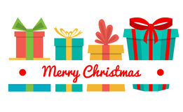 Vector Merry Christmas greeting card. Gift boxes and greeting text Merry Christmas. Stock Photo