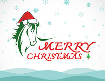 Vector merry christmas greeting card horse Royalty Free Stock Images