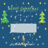 Merry Christmas greeting card on blue background with winter elements stock illustration