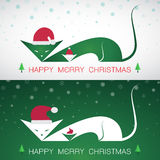 Vector merry christmas greeting cat card Royalty Free Stock Image