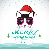 Vector merry christmas greeting cat card. Stock Images