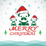Vector merry christmas greeting dog card Royalty Free Stock Images