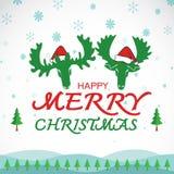 Vector merry christmas greeting  moose deer card Stock Photo