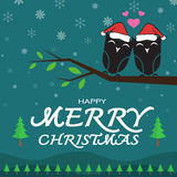 Vector merry christmas greeting owl card Royalty Free Stock Photo