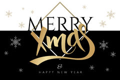 Vector merry christmas greetings card with lettering golden word - xmas - and snowflakes on black and white background Stock Photo