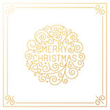 Vector merry christmas hand lettering in outline style Royalty Free Stock Image