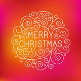 Vector merry christmas hand lettering. In outline style - greeting card with decorative typography and line flourishes on red blurred background Royalty Free Stock Images