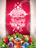 Vector Merry Christmas Happy Holidays illustration with typographic design and gift box on red background. Stock Image