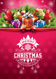 Vector Merry Christmas Happy Holidays illustration with typographic design and gift box on red snowflakes pattern background. Royalty Free Stock Photo