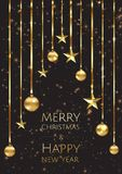 Vector Merry Christmas And Happy New Year background with golden star, balls. Vector Merry Christmas And Happy New Year background with golden star, balls royalty free illustration