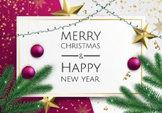 Vector Merry Christmas And Happy New Year background with golden star, balls, fir tree branches, snowflakes. Vector Merry Christmas And Happy New Year royalty free illustration