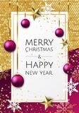 Vector Merry Christmas And Happy New Year background with golden star, balls, fir tree branches, snowflakes. Vector Merry Christmas And Happy New Year vector illustration