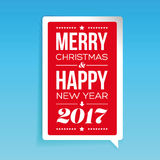 Vector Merry Christmas and Happy New Year card design. Speech bubble Stock Photos