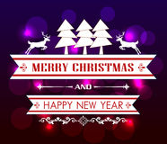 Vector Merry Christmas and Happy New Year card design. Vintage Christmas card with tree and ornaments, Xmas card Stock Images