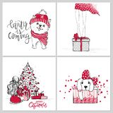 Vector Merry Christmas and Happy New year collection with cute greeting cards. vector illustration