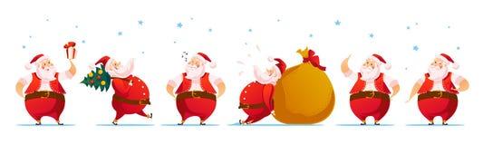 Vector Merry Christmas, Happy New year congratulation design. Santa Claus funny character portrait. Cartoon style. Good for xmas postcard, card, banner vector illustration