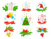 Vector Merry Christmas and Happy New year decoration tradition arrangements isolated on white background. Cartoon style illustration. Good for postcard Stock Photos