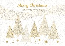 Vector merry Christmas and happy New Year design. Horizontal card with Christmas trees gold and white colors. Geometrical illustration Stock Images