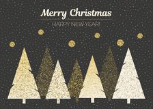 Vector merry Christmas and happy New Year design. Horizontal card with Christmas trees in black, gold and white colors. Geometrical illustration Royalty Free Stock Photo