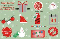 Vector Merry Christmas and Happy New Year design Stock Photos