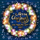 Vector Merry Christmas and Happy New Year 2017. Glowing Christmas wreath Royalty Free Stock Images