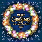 Vector Merry Christmas and Happy New Year 2017. Glowing Christmas wreath  Royalty Free Stock Photos