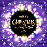 Vector Merry Christmas and Happy New Year 2017. Glowing Christmas wreath made of led lights on the violet wooden background. Chris. Colorful Glowing Christmas Royalty Free Stock Images