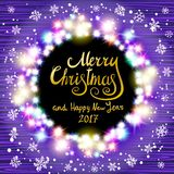 Vector Merry Christmas and Happy New Year 2017. Glowing Christmas wreath made of led lights on the violet wooden background. Chris. Colorful Glowing Christmas Stock Image
