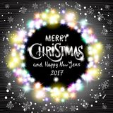 Vector Merry Christmas and Happy New Year 2017. Glowing Christmas Lights Wreath for Xmas Holiday Greeting Cards Design. Wooden Hand Drawn Background royalty free illustration