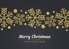 Vector Merry Christmas Happy New Year greeting card design with gold snowflake decoration for holiday season. Royalty Free Stock Image