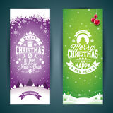 Vector Merry Christmas and Happy New Year greeting card illustration with typographic design and snowflakes on winter landscape Stock Photos